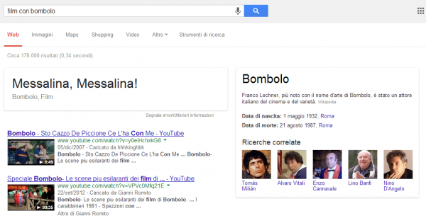 SERP di Google per la query [film con bombolo]